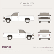 1987 Chevrolet C/K Mk IV Single Cab Pickup Truck blueprint