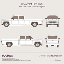 1985 Chevrolet C/K C-20 Mk III Crew Cab Long Bed Facelift Pickup Truck blueprint