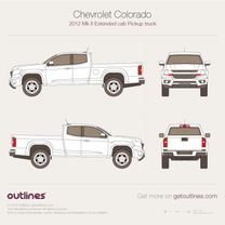 2012 Chevrolet Colorado Mk II Extended Cab Pickup Truck blueprint