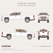 2012 Chevrolet Colorado Mk II Crew Cab Short Box Pickup Truck blueprint