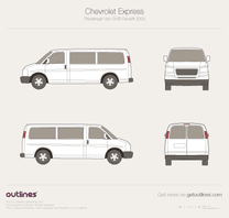 2003 Chevrolet Express Passenger SWB Facelift Wagon blueprint