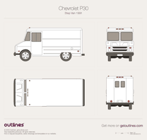1991 Chevrolet Step-Van Delivery Panel Van Van blueprint