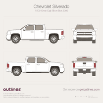 2006 Chevrolet C/K Crew Cab Short Box Pickup Truck blueprint