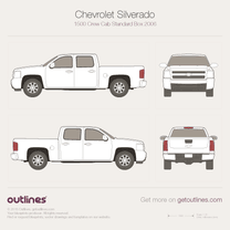2006 Chevrolet C/K Crew Cab Standard Box Pickup Truck blueprint