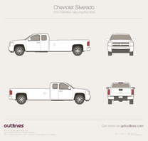 2006 Chevrolet Silverado 1500 Extended Cab Long Box Pickup Truck blueprint