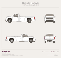 2006 Chevrolet Silverado 1500 Regular Cab Long Box Pickup Truck blueprint