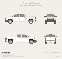 2015 Chevrolet Silverado 1500 Crew Cab Standard Box Pickup Truck blueprint