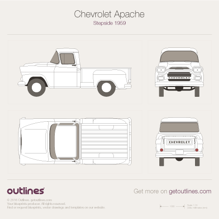 1955 Chevrolet Apache Step Side Pickup Truck blueprints and drawings