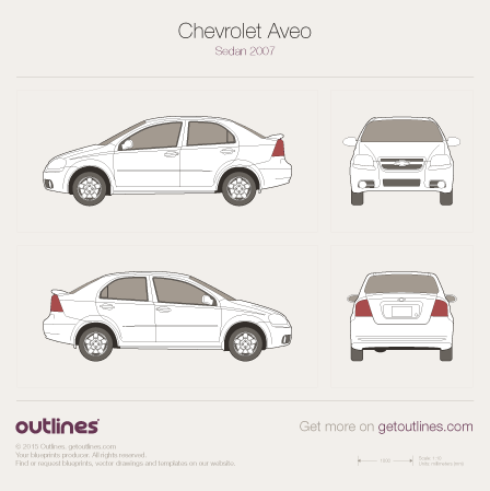2006 Chevrolet Aveo T250 Facelift Sedan blueprint