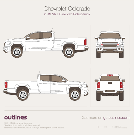 2012 Chevrolet Colorado Mk II Pickup Truck blueprints and drawings