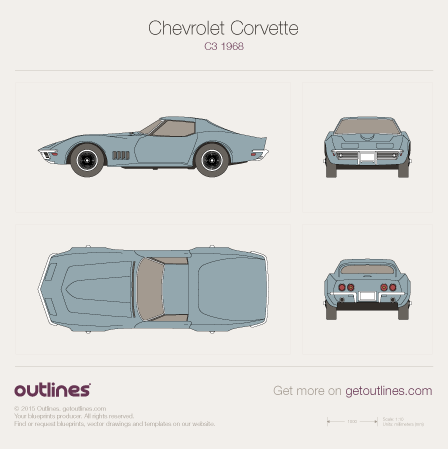1968 - 1969 Chevrolet Corvette C3 Coupe drawings