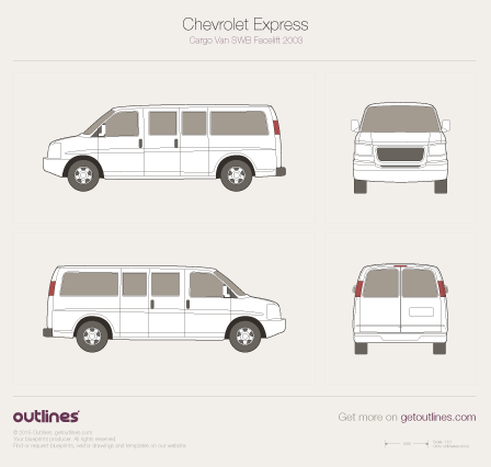 2003 Chevrolet Express Passenger Crew SWB Facelift Wagon blueprint