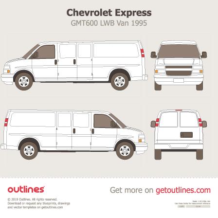 1995 Chevrolet Express GMT600 LWB Van blueprint