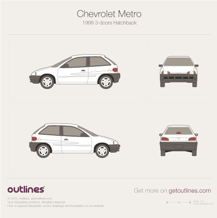 1998 - 2001 Chevrolet Metro 3-doors Hatchback drawings