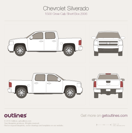 2006 Chevrolet Silverado 1500 Crew Cab Short Box Pickup Truck blueprint