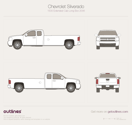 2006 - 2013 Chevrolet Silverado 1500 Extended Cab Long Box Pickup Truck drawings