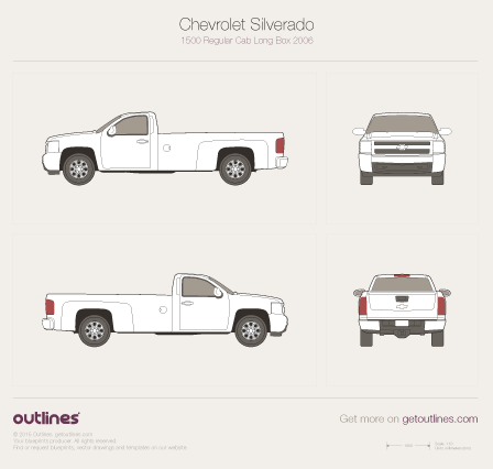 2006 - 2013 Chevrolet Silverado 1500 Regular Cab Long Box Pickup Truck drawings