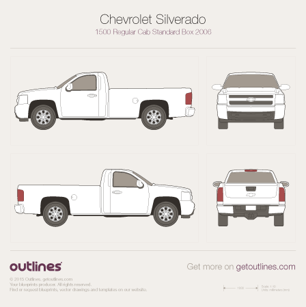 2006 Chevrolet Silverado 1500 Regular Cab Standard Box Pickup Truck blueprint