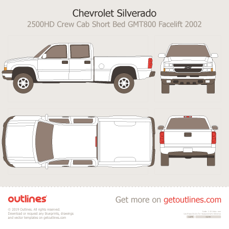 2002 Chevrolet Silverado 2500 HD Pickup Truck blueprints and drawings