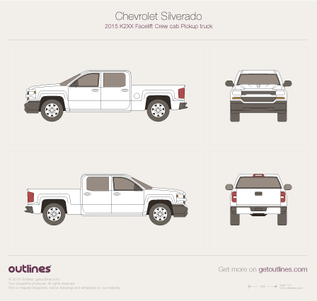 2015 Chevrolet Silverado 1500 Pickup Truck blueprints and drawings