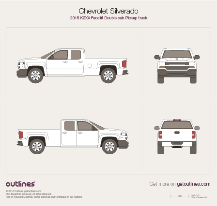 2015 Chevrolet Silverado 1500 Double Cab Pickup Truck drawings