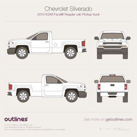 2015 Chevrolet Silverado 1500 Regular Cab Standard Box Pickup Truck drawings