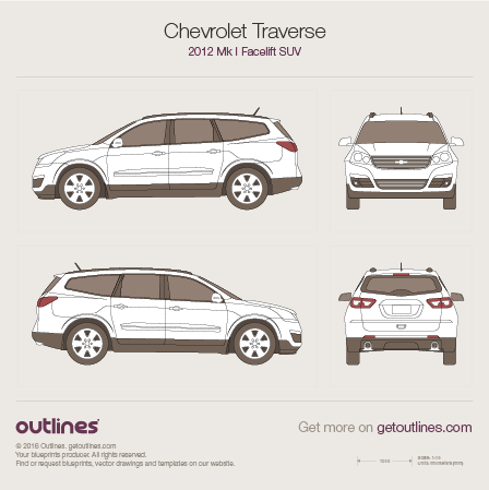 2012 Chevrolet Traverse Facelift SUV blueprint