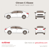 2017 Citroen C-Elysee Mk II Facelift Sedan blueprint