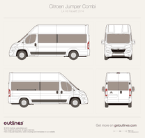 2014 Citroen Jumper Combi L4 H3 Facelift Bus blueprint
