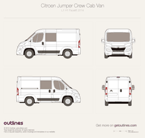 2014 Citroen Relay Crew Cab L1 H1 Facelift Van blueprint
