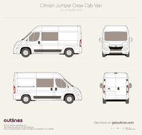 2014 Citroen Relay Crew Cab L2 H2 Facelift Wagon blueprint