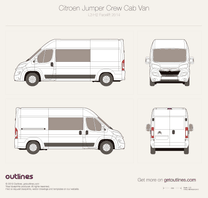 2014 Citroen Relay Crew Cab L3 H2 Facelift Van blueprint