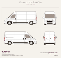 2014 Citroen Relay Panel Van L2 H2 Facelift Van blueprint