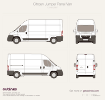 2007 Citroen Jumper Panel Van L3 H3 Van blueprint
