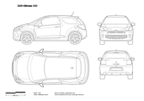 2010 Citroen DS3 3-door Hatchback blueprint