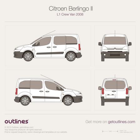 2008 Citroen Berlingo Combi L1 Facelift Wagon blueprint