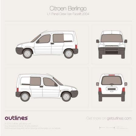 2002 Citroen Berlingo Panel Crew Van L1 Facelift Van blueprint