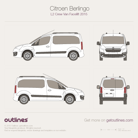 2015 Citroen Berlingo Crew Van L2 Facelift Van blueprint