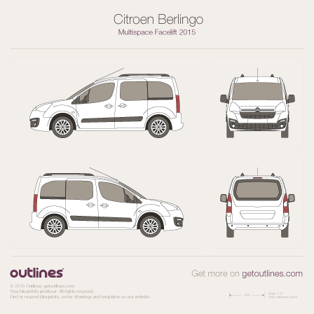 2015 Citroen Berlingo Multispace Minivan blueprints and drawings