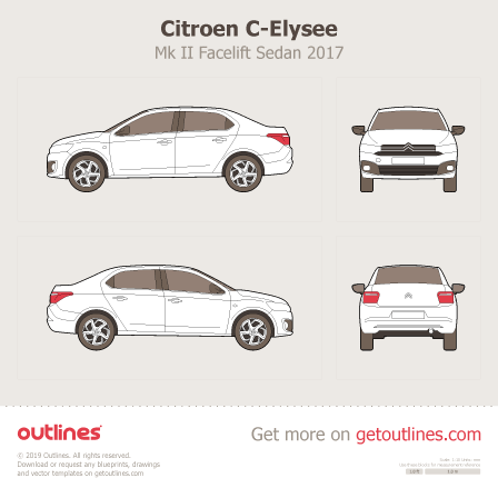 2017 Citroen C-Elysee Mk II Sedan blueprints and drawings