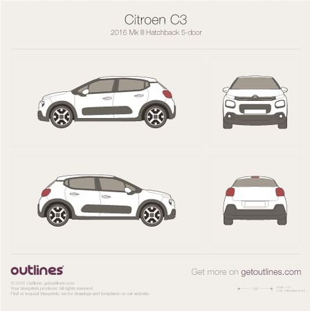 2016 Citroen C3 Mk III 5-door Hatchback blueprint