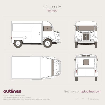 1947 Citroen Type H Van blueprints and drawings