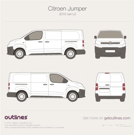 2016 Citroen Jumper Mk III L3 Van blueprint