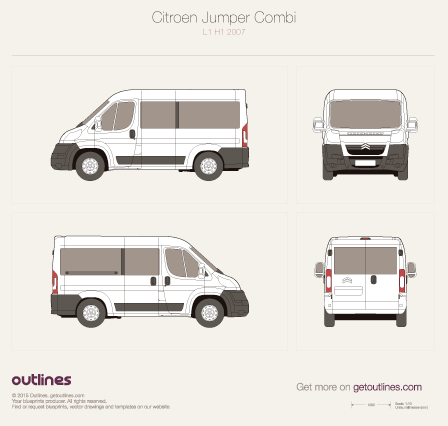 2006 - 2010 Citroen Jumper Combi L1 H1 Wagon drawings