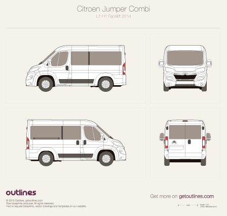 2014 Citroen Jumper Combi L1 H1 Facelift Wagon blueprint