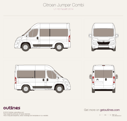2014 Citroen Relay Combi L1 H2 Facelift Wagon blueprint