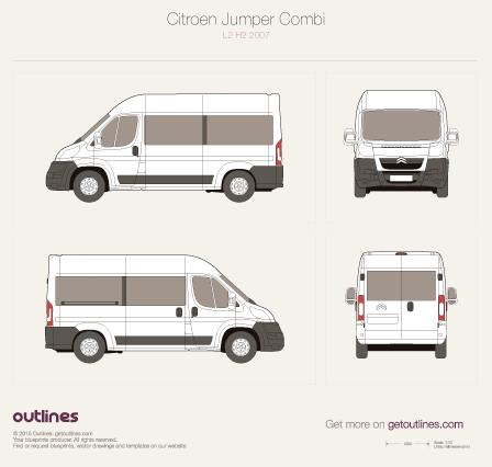 2007 Citroen Jumper Combi L2 H2 Wagon blueprint