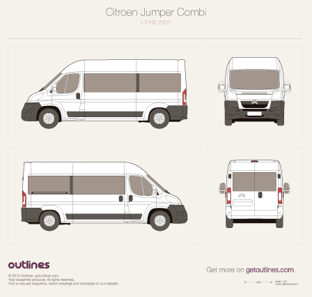 2007 Citroen Jumper Combi L3 H2 Wagon blueprint