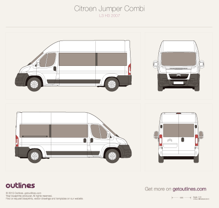 2007 Citroen Jumper Combi L3 H3 Wagon blueprint