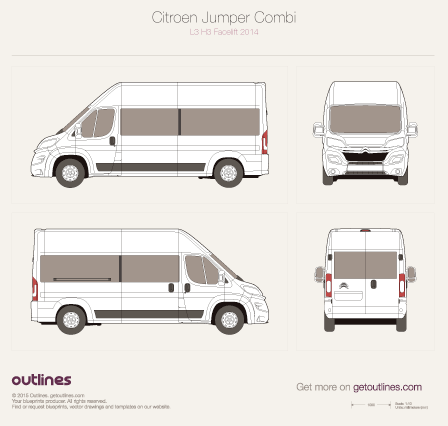 2014 Citroen Jumper Combi L3 H3 Facelift Wagon blueprint